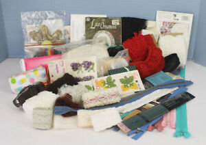 Vintage Sewing Supplies Mixed Lot Applique Embroidery Scalloped Lace Trim Needle $17.99