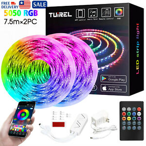 50FT SMD5050 RGB LED Strip Lights Bluetooth Remote Fairy Lights Room TV Party $36.99