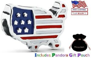 New Authentic PANDORA Sterling Silver S925 ALE USA Map Enamel Bead Charm $24.00