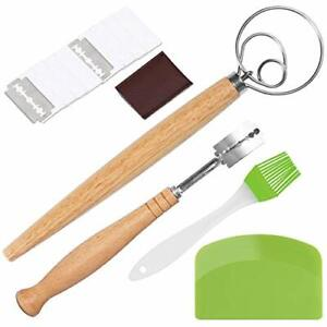 15 Pieces Danish Dough Whisk Set Stainless Steel Bread Lame Set with 10 Rep...