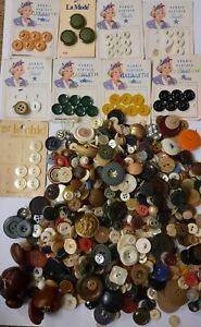 Vintage Assorted Sewing Buttons Lot Variety Some on Original Cards Collectible $16.00
