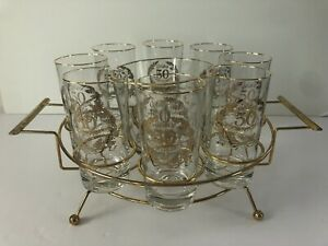 Vintage 50th Anniversary Drinking Glass set of 8 with Ice Holder And Caddy