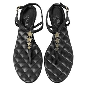 Chanel Dallas Star Quilted Leather Flat Thong Sandals Size EU 40.5 MSRP $775 $399.00