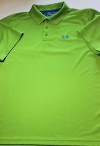 Mens Under Armour GOLF POLO SHIRT Large Green 23 x 29 $18.49