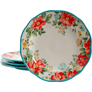 FREE SHIPPING The Pioneer Woman Vintage Floral 4 Piece Dinner Plate Set $20.99