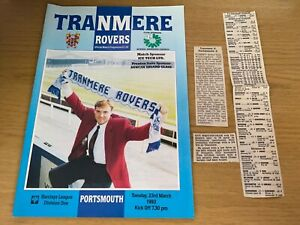 Tranmere Rovers v Portsmouth Barclays League 1 Football Programme 23 3 1993
