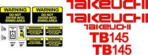 Takeuchi Decal Set for TB145 decals stickers kit Loader Excavator $49.99