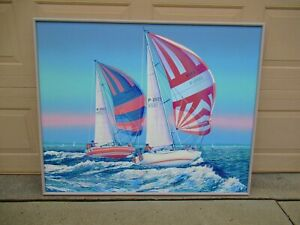 Large Signed Collins American Maritime Nautical Sailboat Seascape Oil Painting $700.00
