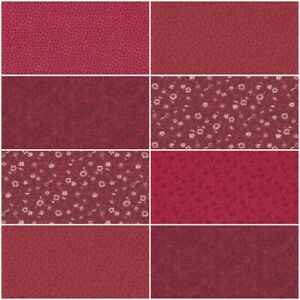Lot of 8 BURGUNDY MAROON Fat Quarters Quilting Sewing Cotton Fabric FQ Bundle $21.25