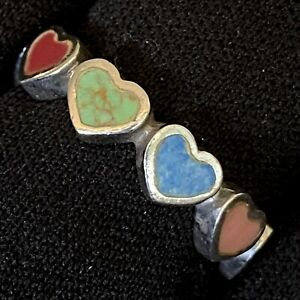 ESTATE STERLING SILVER MOP LAPIS CORAL JASPER INLAY HEART ETERNITY RING SZ 7.75 $92.48