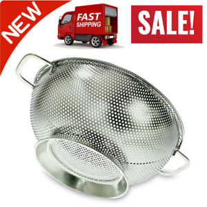 PriorityChef Colander Stainless Steel 3 Qrt Kitchen Strainer With Large Stable