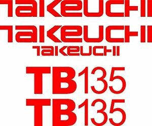 Takeuchi Decal Set for TB135 decals stickers kit Loader Excavator $49.99