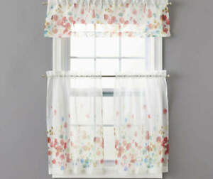 Real Living Maggie Kitchen Tier Valance 3 Piece Set Beautiful Poppy Floral