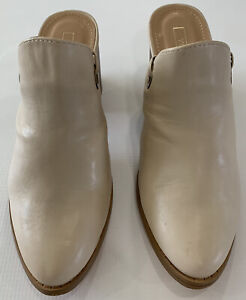 Yoki Womens Nude Beige Ankle Straps Tie Up Chelsy Mules Close Toe Heeled Size 8 $14.99