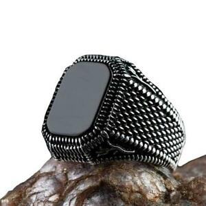 Creative Square Agate Ring Retro Old Dominant Men Ring Trend Party Gift Y $1.55