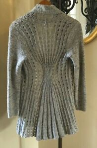 ROSIE NEIRA Anthropologie Gray Open Front Loose Knit Wool Blend Cardigan M $14.95