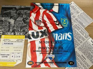 Sunderland v Portsmouth Barclays League Division 1 Football Programme 1 5 1993