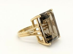 Large Emerald Cut Smoky Topaz Gem Ring in 14KT Yellow Gold $399.00