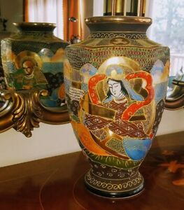 ANTIQUE SATSUMA MORIAGE JAPAN IMMORTALS LARGE VASE 13 TALL
