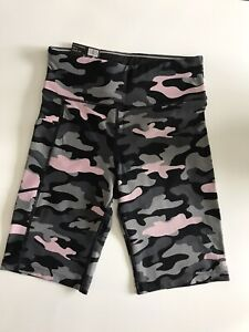 Calvin Klein High Rise Bike Shorts Activewear Pink Camouflage Size Small NWT