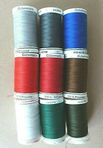 Lot of 9 GUTERMANN THREAD 100% Polyester 500 Meters 547 Yards # 3 $27.80