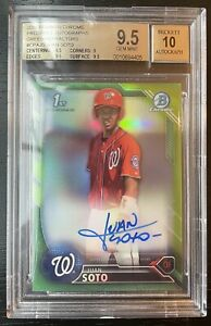 2016 Bowman Chrome Green Refractor Juan Soto ROOKIE RC AUTO 99 BGS 9.5 GEM MT $17499.00