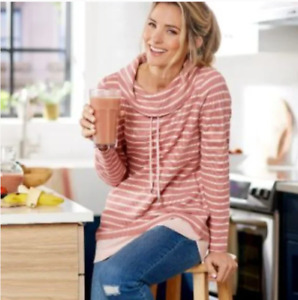 Denim Co. Regular Striped Waffle Knit Tunic with Solid Trim Size XS $18.99