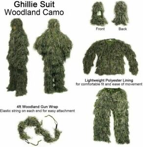3D Tactical Camouflage Sniper Woodland For Hunting Army 4Pcs Ghillie Suit bag
