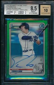 BGS 8.5 10 SPENCER TORKELSON AUTO 2020 Bowman Chrome GREEN REFRACTOR # 99 NM MT $1799.99