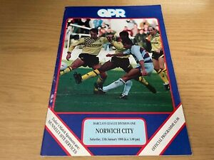 QPR v Norwich City Barclays League Division 1 Football Programme 13 1 1990