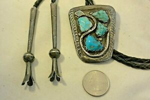 signd JUAN CALAVAZA Zuni BOLO TIE 4 TURQUOISE amp; SNAKE Sterling Silver FANCY TIPS