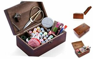 Wooden Sewing Kit Sewing Boxes Organizer with Accessories Retro Wooden Box $32.01