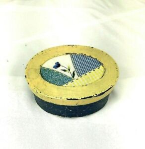 Oval Paper Mache Quilted Box Storage Gift Blue Yellow $10.00