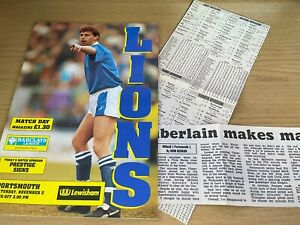 Millwall v Portsmouth Barclays League Division 2 Football Programme 2 11 1991