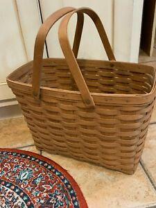 VINTAGE 1988 LONGABERGER MAGAZINE SEWING LARGE BASKET SWING DOUBLE HANDLES EUC $55.00