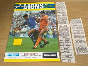 Millwall v Portsmouth Barclays League Division 2 Football Programme 3 10 1990