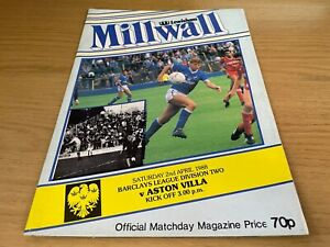 Millwall v Aston Villa Barclays League Division 2 Football Programme 2 4 1988