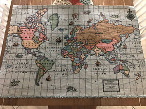 World Map Tapestry. Fabric. Unique. Crafts Sewing Wall Hanging. EUC C4 $14.99