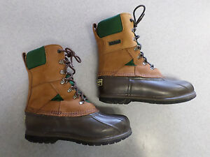 L.L. Bean quot;Bean Bootsquot; brown leather and rubber hunting boots Men#x27;s 7 Wide