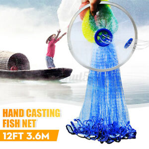 12FT Upgrade Colorful Hand Easy Cast Fish Net Bait Strong Nylon Line Sinke $28.78