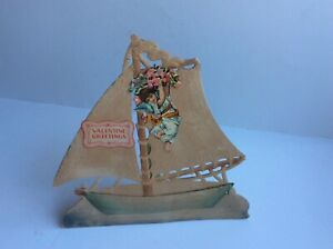 Vintage Antique Stand Up Valentine Card Boat Die Cut Dresden Saxony Germany $34.99