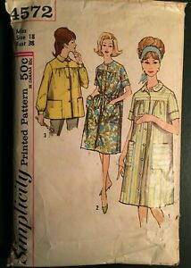 Vintage Sewing Pattern: MISSES#x27; DUSTER SMOCK ROBE bust 38 Simplicity 4572 $5.99