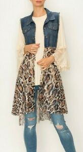 ORIGAMI cardigan LACE amp; DENIM vest shirt SM XL vintage LEOPARD ANIMAL PRINT LACE