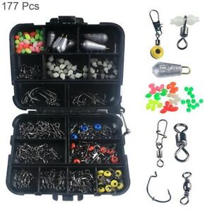 Fishing Accessories Kit Swivels Hooks 177PCS Tackle Box for Saltwater Freshwater