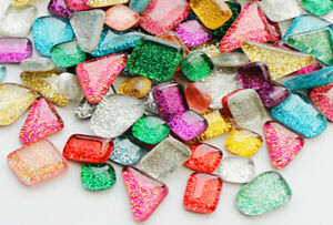 Colorful Glitter Shiny Glass Mosaic Tiles For Craft Art DIY Hand Bulk 200 Pieces $13.99