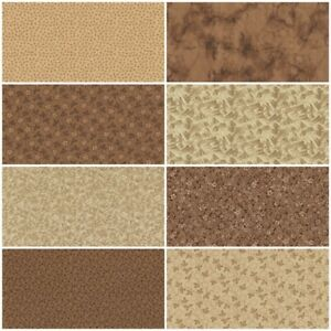 Lot of 8 FAT QUARTERS in BROWN CAMEL GOLD Quilting Sewing Cotton FQ Fabric $21.25