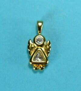 Vintage Gold Tone Sterling Silver Angle Pendant CZ 2398 $15.00