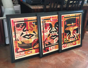 Shepard Fairey 3 Face Obey Signed Autographed Rare Street Art 18x24 Lithograph $105.99