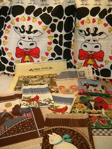 Mixed Lot Sewing Cotton Fabric Panels Pillow Tops Cows Cat Birds $9.50