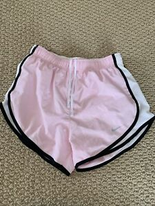 WOMENS NIKE DRI FIT SHORTS LIGHT PINK WHITE BLACK SIZE ADULT S $19.20